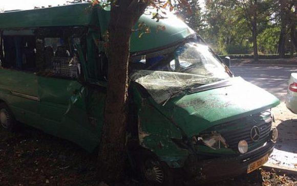 В Кривом Роге забитая людьми маршрутка врезалась в дерево, много пострадавших